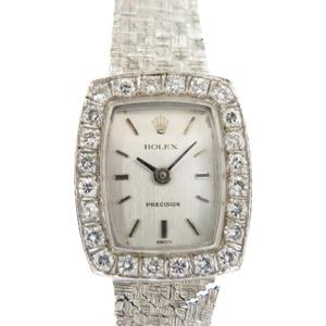 Rolex Precision K18WG / Genuine Diamond Bezel Gold Bare Hand-wound Watch Antique 0148 ROLEX Ladies