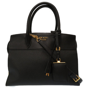 Prada Esplanade Leather Black 1BA046 2way Handbag Bag 0070 PRADA