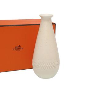 HERMES amphora H logo vase pottery white 0376 HERMES
