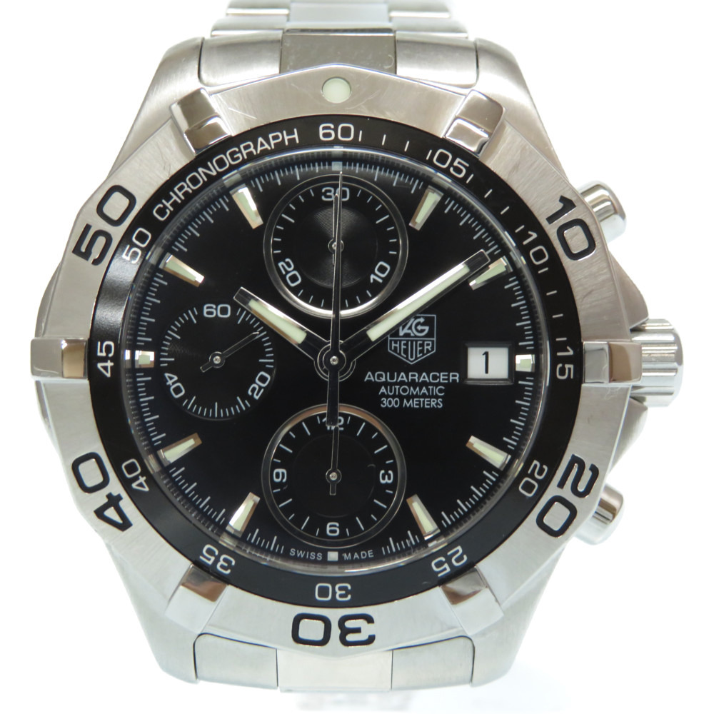 TAG Heuer Aqua Racer Chronograph Automatic Watch CAF2110 SS Black Dial 0008 TAG HEUER Men