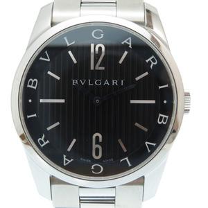 Bulgari Solo Tempo 42 ST42S Quartz Watch SS Black Dial 0004 BVLGARI Men