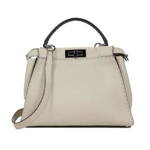 Fendi FENDI Celeria Pekaboo 8BN290 Leather Ivory × Gray Handbag