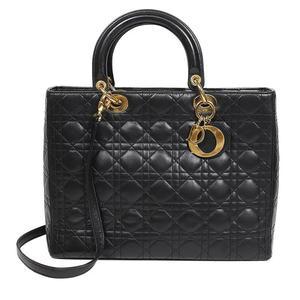 Christian Dior Lady Large CAL44560 Black Gold Hardware Handbag Women