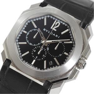BVLGARI Octochronograph BGO41BSLDCH Automatic Leather Belt Men's Watch