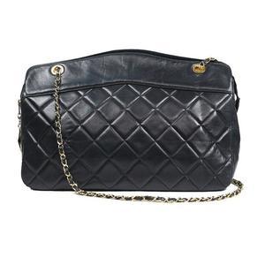 シャネル(Chanel) シャネル CHANEL  マトラッセチェーントート  ラムスキン ブラック ゴールド金具 ショルダーバッグ