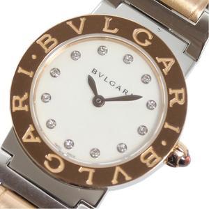 BVLGARI BBLP26SG BBL26WSPG PG SS 12P Diamond White Shell Quartz Ladies Wrist Watch