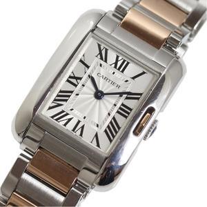 カルティエ Cartier  タンクアングレーズSM  W5310036 PG SS クォーツ レディース 腕時計