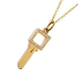 ティファニー(Tiffany) ティファニー TIFFANY&CO  モダンキー オープンスクエア キー ペンダント  K18YG ダイヤモンド レディース ネックレス ジュエリー 仕上げ済み