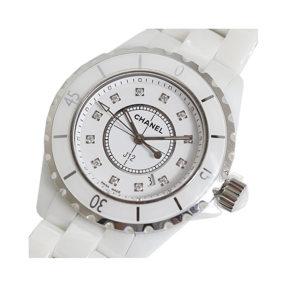 watch 56b29 31cca シャネル CHANEL J12 33mm ホワイトセラミック 12Pダイヤ クォーツ レディース 腕時計 | eLady.com