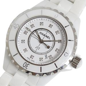 CHANEL J12 33mm White Ceramic 12P Diamond Quartz Ladies Watch