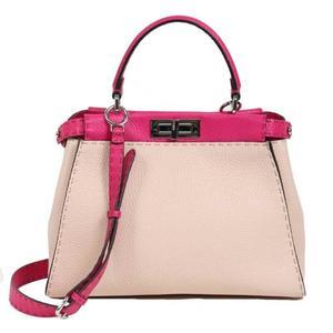 Fendi FENDI Celeria Peekaboo 8BN290 Trillon leather Cipria × Fuchsia handbag