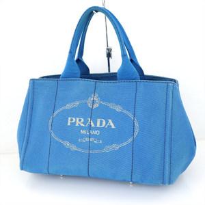 プラダ(Prada) プラダ PRADA ブルー キャンバス カナパ トートバッグ BN1877 レディース 【zo】【中古】