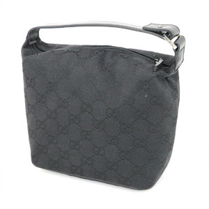 Gucci GUCCI GG Pattern Black Canvas Leather Handbag Women