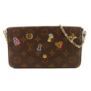 Genuine Louis Vuitton Monogram Pochette Felice GM Chain Wallet M63999 Leather