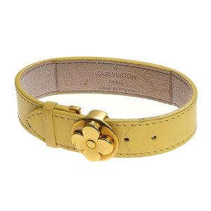 Genuine Louis Vuitton Good Luck Bracelet Calf Flower Motif Beige