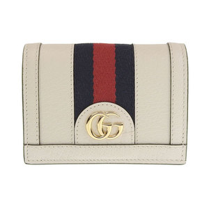 Genuine GUCCI Gucci Offidia Leather Folded Purse White 523155