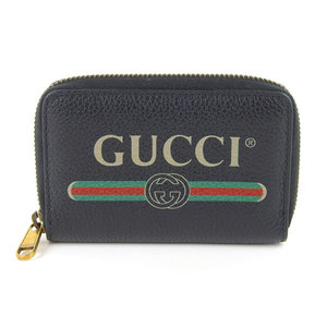 Genuine GUCCI Gucci Printed Vintage Logo Coin Case Black 496319 Leather