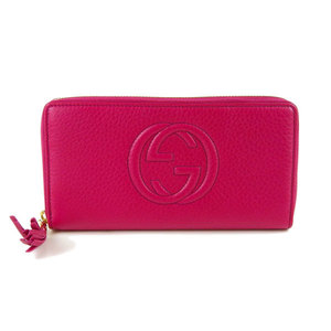 Genuine GUCCI Gucci Soho Round zipper Long wallet Pink leather