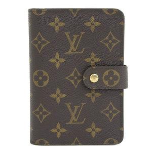 Genuine Louis Vuitton Monogram Papier Zip Two-folded Purse Leather