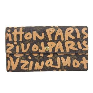Genuine Louis Vuitton Monogram Graffiti Portofoil Sara Long wallet Brown leather