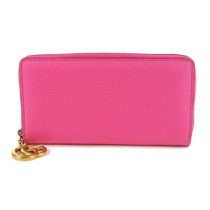 Genuine GUCCI Gucci marmont round zipper wallet pink leather