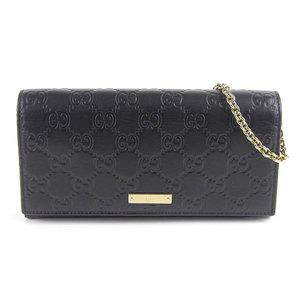Genuine GUCCI Gucci Sima Chain wallet long black 170426 leather