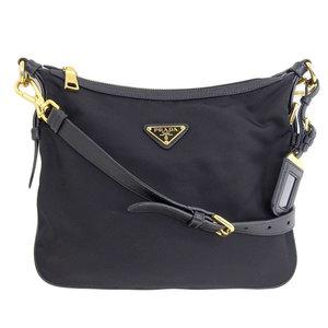 Genuine PRADA Prada Nylon Shoulder Bag Black Gold Hardware Leather