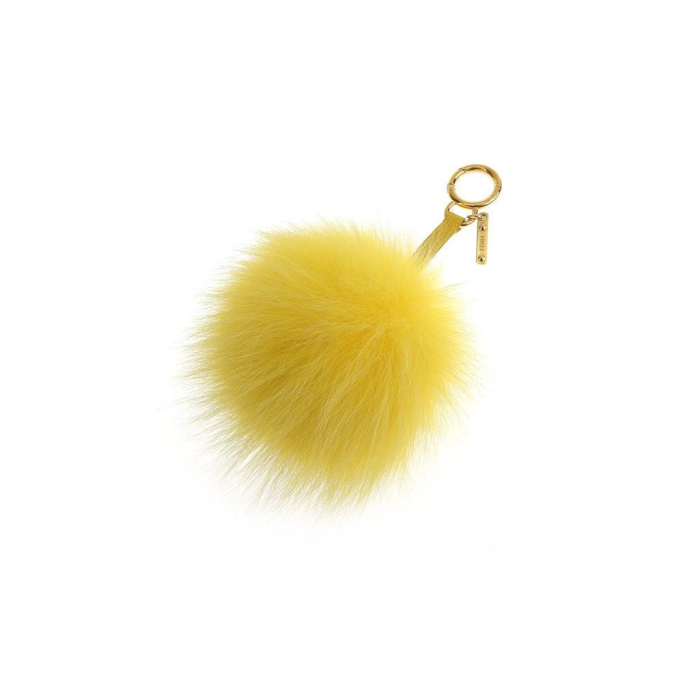 Genuine FENDI Fendi fur Pom pom Charm Key Holder Yellow