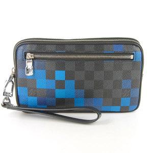 Genuine Louis Vuitton Damier Graphite Pixel Alpha Clutch N60196 Leather