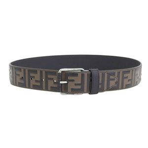 Genuine FENDI Fendi Zucca Leather Belt Brown Black Silver Hardware 80