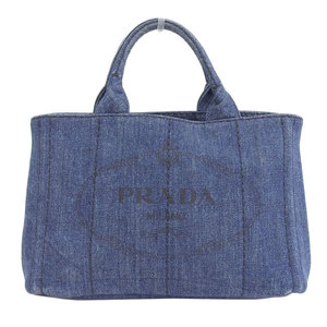Genuine PRADA Prada Denim Mini Kanapa Tote Bag Blue BN2439 Leather