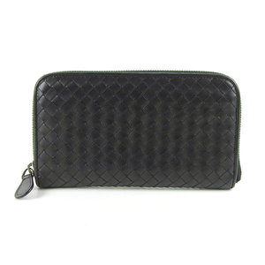 Genuine BOTTEGA VENETA Bottega Veneta Intrecherto zipper round wallet black 114076 leather