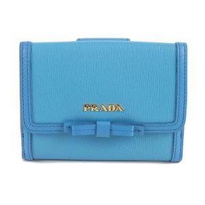 Genuine PRADA Prada W hook compact fold wallet light blue 1MH523 leather