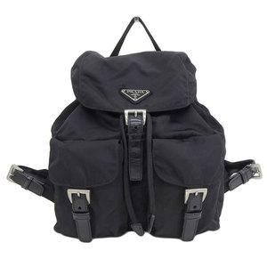 Genuine PRADA Prada nylon rucksack backpack black leather