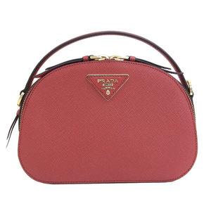 Genuine PRADA Prada Safiano leather 2WAY handbag shoulder red 1BH123