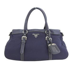 Genuine PRADA Prada nylon 2WAY handbag shoulder navy blue leather