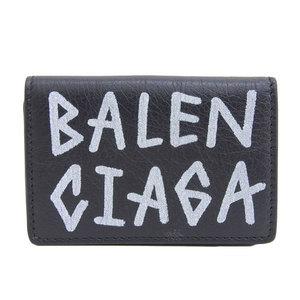 Genuine BALENCIAGA Balenciaga Everyday Leather Mini Wallet Tri-Fold Black 529553