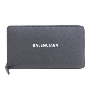 Genuine BALENCIAGA Balenciaga Leather Round Fastener Purse Gray 551935