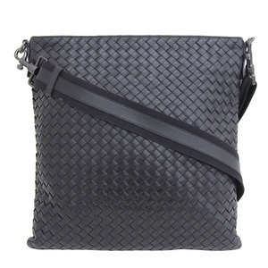 Genuine BOTTEGA VENETA Bottega Veneta Intrecciato Leather Shoulder Bag Black