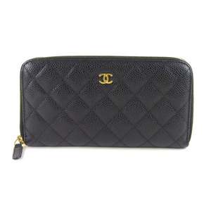 Genuine CHANEL Chanel caviar skin round zipper long wallet black 17 stand leather