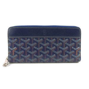 Goyard Genuine GO YARD Goyal Round zipper Long wallet Blue Leather