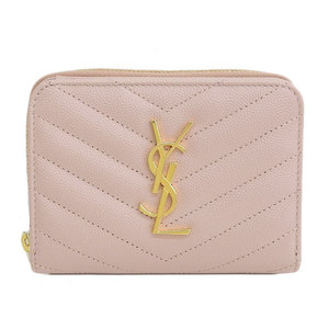 Real Saint Laurent Leather Bi-fold Wallet Baby Pink