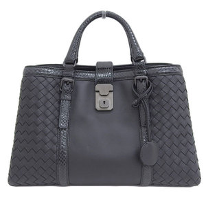 Genuine BOTTEGA VENETA Bottega Veneta Intrecciato Python 2WAY handbag black leather
