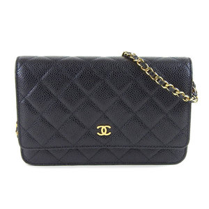 Genuine CHANEL Chanel caviar skin chain wallet black gold hardware 22 series leather