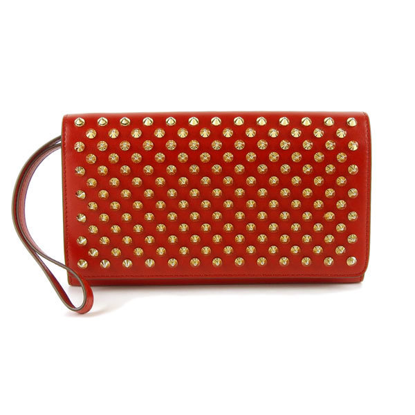 e5c4971d6bf Details about Auth Christian Louboutin Spike Studs Macaron Long Wallet Red  Leather