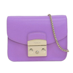 Genuine FURLA Furura Metropolis Leather Chain Shoulder Bag Purple
