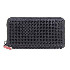 Genuine Christian Louboutin Panettone Leather Round Fastener Purse Black 1165044