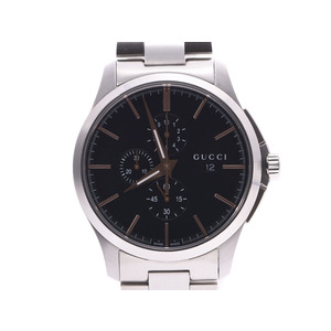 Gucci G Timeless Chrono Black Dial 126.2 Men's SS Quartz Watch A Rank Beauty Product GUCCI Box Sky Gallery Used Ginzo