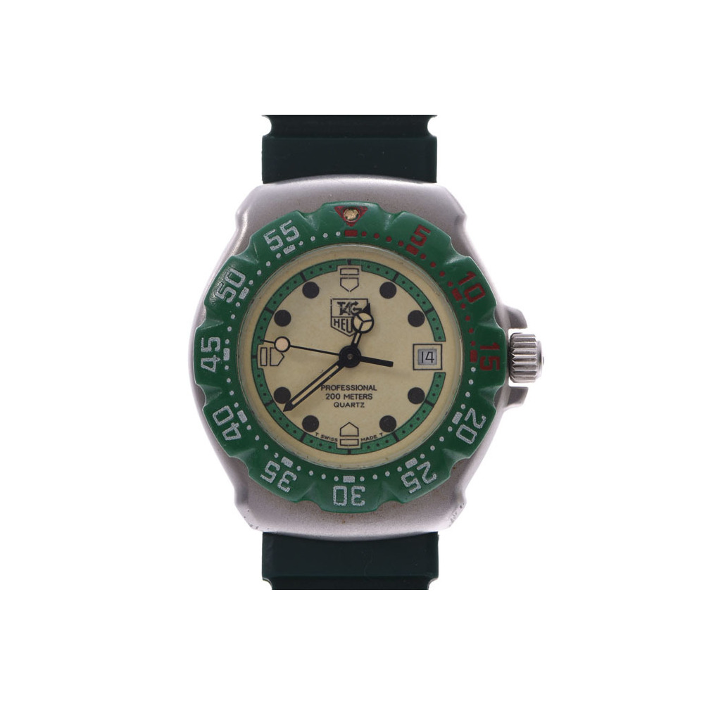 Tag Heuer Formula 1 Green Ivory Dial 372.508 Ladies Mens SS / Rubber Quartz Watch AB Rank TAG Used Ginzo
