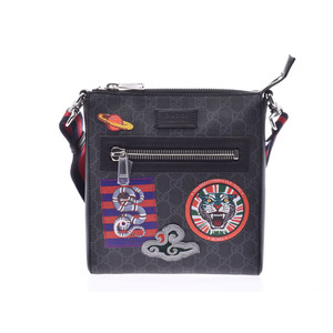 Gucci GG Supreme Messenger Bag Black Men's Women's PVC Leather Shoulder